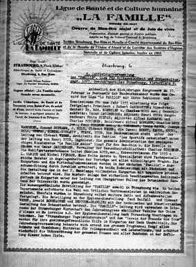 Grüdungsdokument des Vereins La Famille - 1927